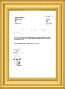 aqsep_گواهی نمایندگی شرکت آرینا رهیافت تجارت